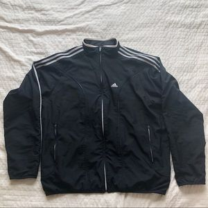 Adidas windbreaker jacket black white 3 stripes